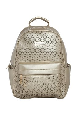 Addons Metallic Gold Cut Work Laptop Backpack