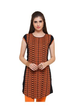 Naari Orange & Black Embroidered Viscose Kurti