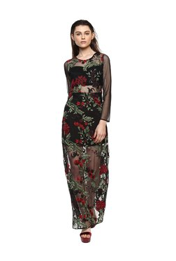 Kazo Black Floral Print Maxi Dress