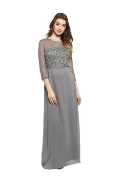 Kazo Grey Embellished Maxi Dress