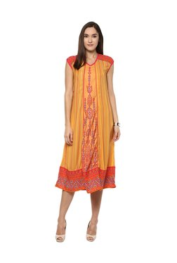 Fusion Beats Orange Printed Knee Length Dress