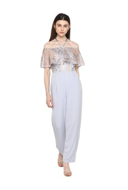 Kazo Blue Floral Print Full Length Jumpsuit