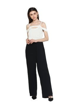 Kazo White & Black Polyester Full Length Jumpsuit