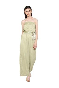 Kazo Green Striped Full Length Jumpsuit