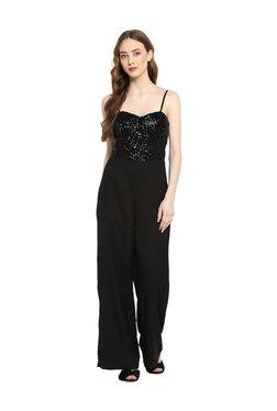 Kazo Black Embellished Full Length Jumpsuit
