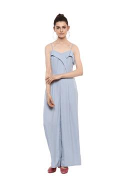 Kazo Blue Polyester Full Length Jumpsuit