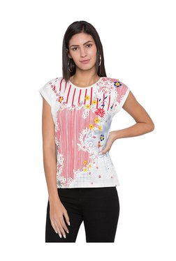Globus White & Red Floral Print T-Shirt