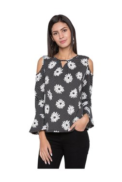 Globus Black & White Floral Print Top