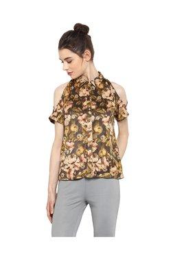 Kazo Brown Floral Print Polyester Shirt