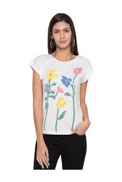 Globus Off White Floral Print T-Shirt