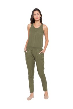 Globus Olive Polyester Full Length Jumpsuit