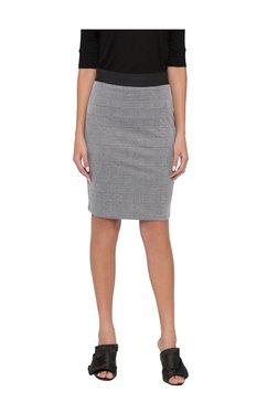 Globus Grey Checks Knee Length Straight Skirt