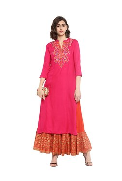 Varanga Pink & Orange Embroidered Kurta With Skirt