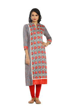 Soch Red & Blue Floral Print Cotton Kurta