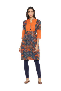 Soch Orange & Navy Printed Cotton Straight Kurta