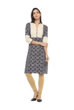 Soch Beige & Navy Printed Cotton Straight Kurta