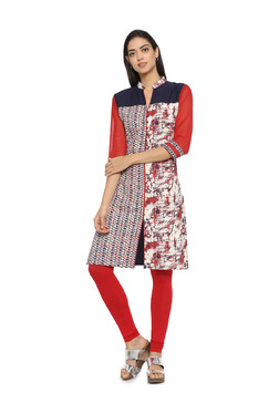 Soch Red & Navy Printed Cotton Straight Kurta