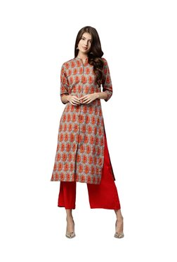 Gerua Grey & Orange Cotton Straight Kurta