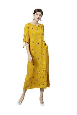 Gerua Yellow Floral Print Maxi Dress