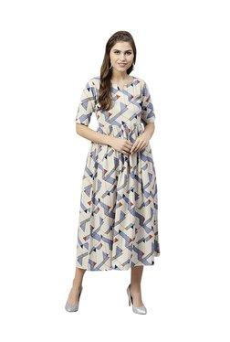 Gerua Beige & Blue Printed Cotton Midi Dress
