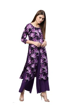 Gerua Purple Floral Print Straight Kurta With Palazzo