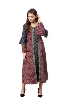 Gerua Red Floral Print Cotton Midi Dress