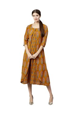 Gerua Mustard Floral Print Cotton Midi Dress