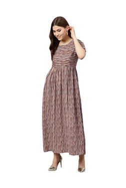 Gerua Brown Striped Maxi Dress