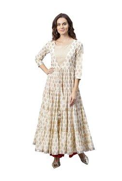 Varanga Off White Printed Cotton Anarkali Kurta