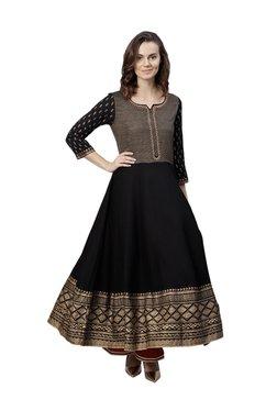 Varanga Black Printed Flared Kurta