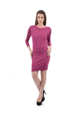 Species Pink Above Knee Slim Fit Acrylic Dress