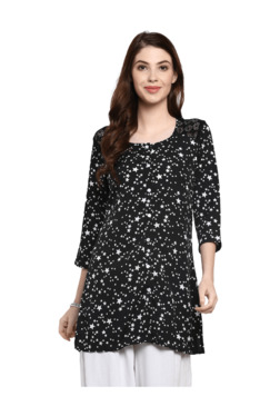 Mytri Black Printed Straight Kurti