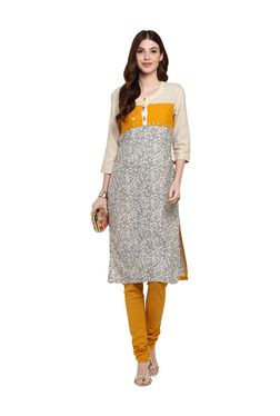 Mytri Beige & Yellow Printed Cotton Straight Kurta