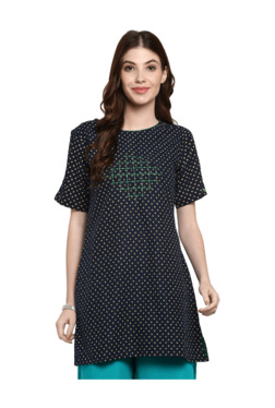 Mytri Navy & Yellow Printed Straight Kurti