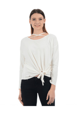 Pepe Jeans Off White Cotton Viscose Top