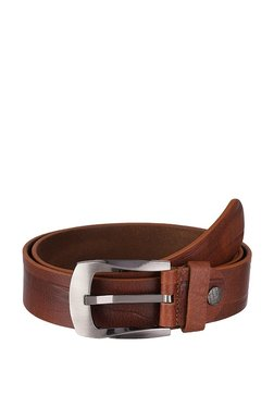 Kara Men Tan Textured Genuine Leather Belt-42-Tan