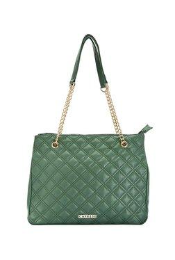 Caprese Austria Olive Green Textured Quilted Shoulder Bag