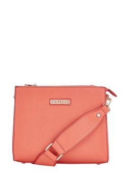 Caprese Abbey Peach Solid Sling Bag