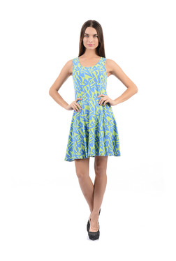 Flying Machine Blue & Green Printed Above Knee Dress