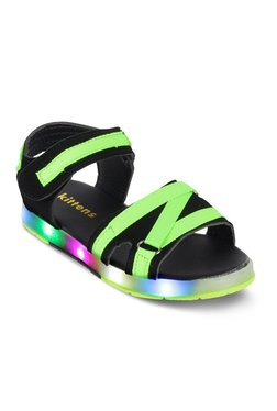 Kitten Kids Green & Black Velcro Ankle Strap Sandals