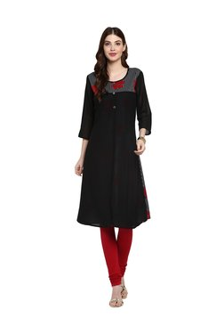 Mytri Black Cotton Floral Print Kurti