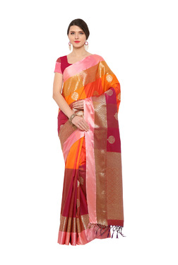 Varkala Silk Sarees Maroon & Orange Silk Saree With Blouse