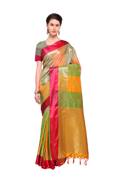Varkala Silk Sarees Mustard & Green Silk Saree With Blouse