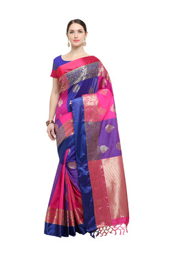 Varkala Silk Sarees Royal Blue & Pink Silk Saree With Blouse
