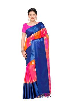 Varkala Silk Sarees Orange & Magenta Silk Saree With Blouse