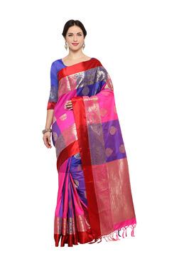 Varkala Silk Sarees Royal Blue & Pink Silk Saree With Blouse