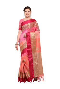 Varkala Silk Sarees Peach & Baby Pink Silk Saree With Blouse