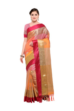 Varkala Silk Sarees Peach & Mustard Silk Saree With Blouse