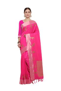 Varkala Silk Sarees Magenta Silk Saree With Blouse