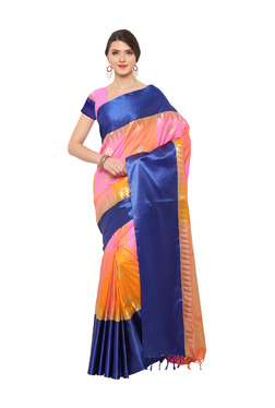 Varkala Silk Sarees Orange & Baby Pink Silk Saree With Blouse